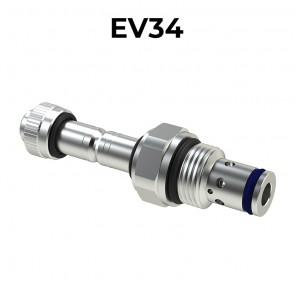 Valvole elettrica a cartuccia 2/2 pilotata bidirezionale a doppia tenuta SAE10, EV34