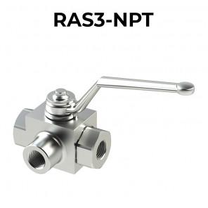 Valvole a sfera a 3 vie 3 posizioni RAS3-NPT