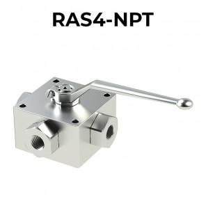 Valvole a sfera a 4 vie/3 posizioni RAS4-NPT