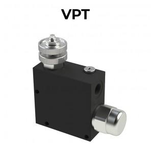 Regolatori di flusso VPT a 3 vie compensati, con eccedenza in scarico