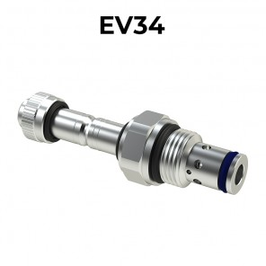 EV34 Cartridge electric valve 2/2 pilot acting bidirectional double sealed SAE10