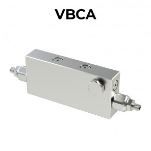 Double counterbalance valve for open center with fitting bolt VBCA
